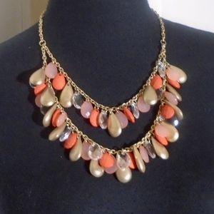 Soft Gold & Peach Tear Drop Double Chain Necklace